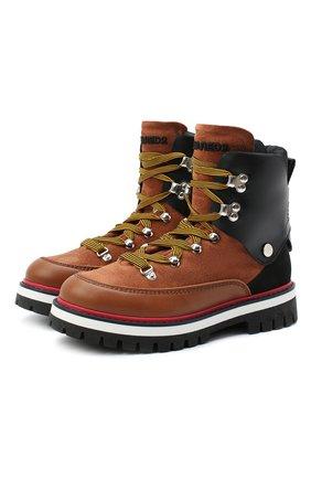 Детские кожаные ботинки DSQUARED2 коричневого цвета, арт. 65198/RUNNER/36-41 | Фото 1