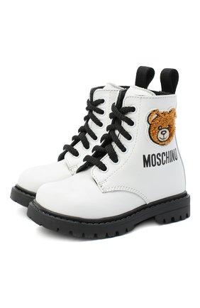 Детские кожаные ботинки MOSCHINO белого цвета, арт. 65617/KIPS/18-27 | Фото 1