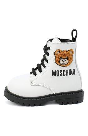 Детские кожаные ботинки MOSCHINO белого цвета, арт. 65617/KIPS/18-27 | Фото 2