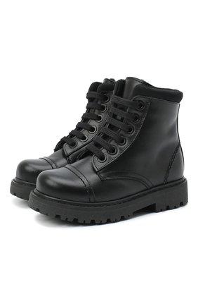 Детские кожаные ботинки MONTELPARE TRADITION черного цвета, арт. MT19202/VITELL0/18-27 | Фото 1