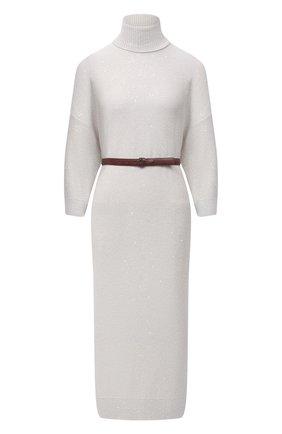 Женское платье из кашемира и шелка BRUNELLO CUCINELLI белого цвета, арт. M73549A93 | Фото 1