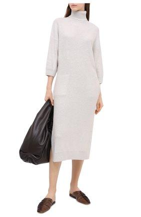 Женское платье из кашемира и шелка BRUNELLO CUCINELLI белого цвета, арт. M73549A93 | Фото 2