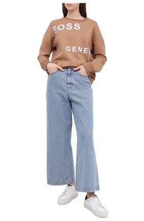 Женская хлопковый свитшот BOSS бежевого цвета, арт. 50439388 | Фото 2
