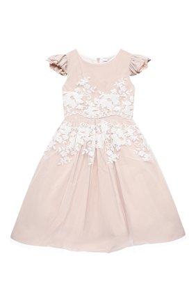Детское платье MONNALISA бежевого цвета, арт. 776900 | Фото 1