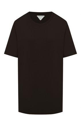 Женская хлопковая футболка BOTTEGA VENETA темно-коричневого цвета, арт. 636861/VF1U0   Фото 1 (Материал внешний: Хлопок; Длина (для топов): Стандартные; Рукава: Короткие; Стили: Кэжуэл, Минимализм; Принт: Без принта)