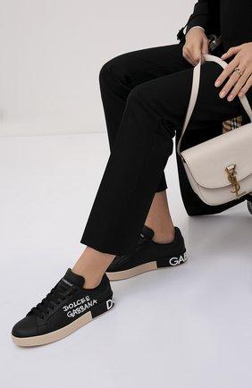 Женские кожаные кеды portofino DOLCE & GABBANA черного цвета, арт. CK1544/AW710 | Фото 2 (Материал внутренний: Натуральная кожа; Подошва: Платформа)