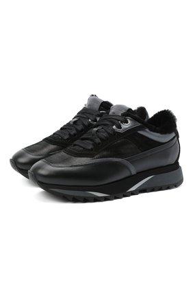 Женские кожаные кроссовки SANTONI черного цвета, арт. WBFW60582NGGPAENN50   Фото 1