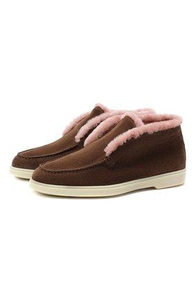 Женские замшевые ботинки SANTONI коричневого цвета, арт. WUYA58457TISAPFCS56 | Фото 1