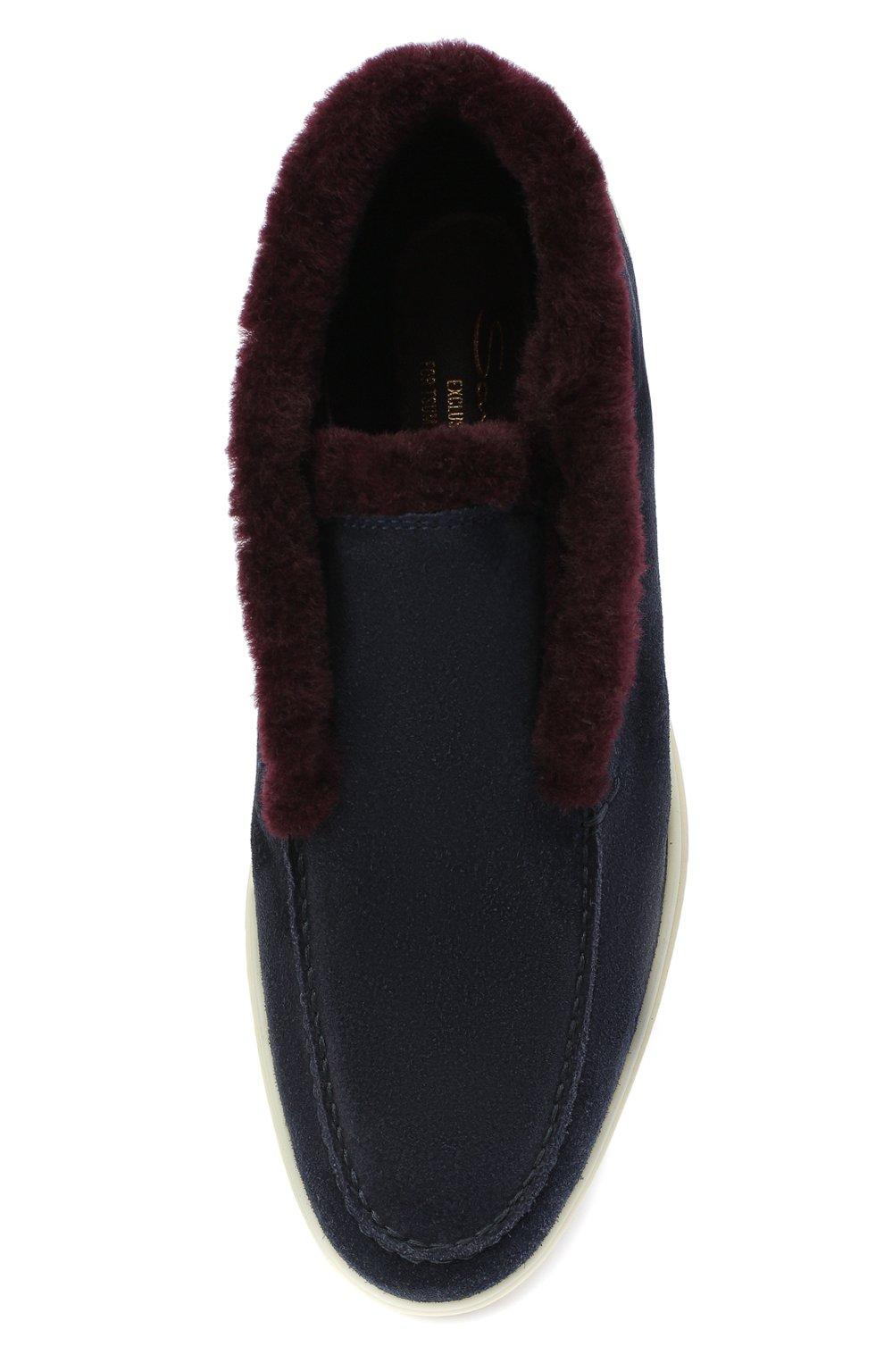 Женские замшевые ботинки SANTONI синего цвета, арт. WUYA58457TISAPFCU68   Фото 5