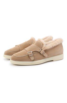 Женские замшевые ботинки SANTONI коричневого цвета, арт. WUYA58865TISAPFRC23 | Фото 1