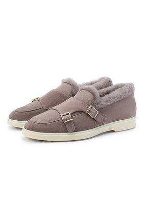 Женские замшевые ботинки SANTONI бежевого цвета, арт. WUYA58865TISAPFRM40 | Фото 1