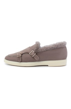 Женские замшевые ботинки SANTONI бежевого цвета, арт. WUYA58865TISAPFRM40 | Фото 3