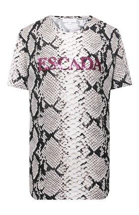 Женская хлопковая футболка ESCADA SPORT серого цвета, арт. 5033333 | Фото 1