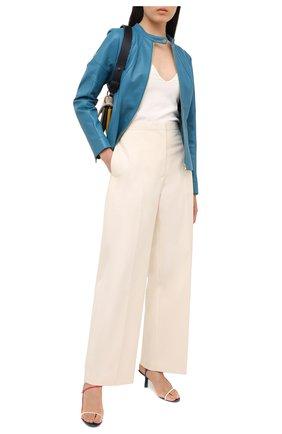 Женская кожаная куртка ESCADA синего цвета, арт. 5033443 | Фото 2
