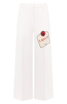 Женские хлопковые брюки LANVIN белого цвета, арт. RW-TR501Y-4312-A20   Фото 1
