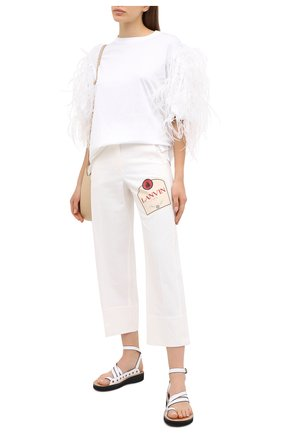 Женские хлопковые брюки LANVIN белого цвета, арт. RW-TR501Y-4312-A20   Фото 2