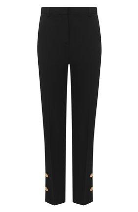Женские шерстяные брюки VERSACE черного цвета, арт. A87138/A226027   Фото 1 (Длина (брюки, джинсы): Стандартные; Материал внешний: Шерсть; Женское Кросс-КТ: Брюки-одежда; Случай: Формальный; Силуэт Ж (брюки и джинсы): Прямые)