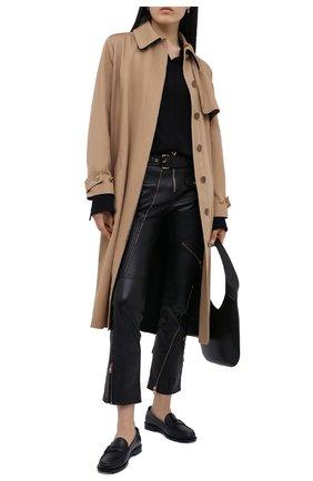 Женские кожаные брюки VERSACE черного цвета, арт. A87442/A210037 | Фото 2