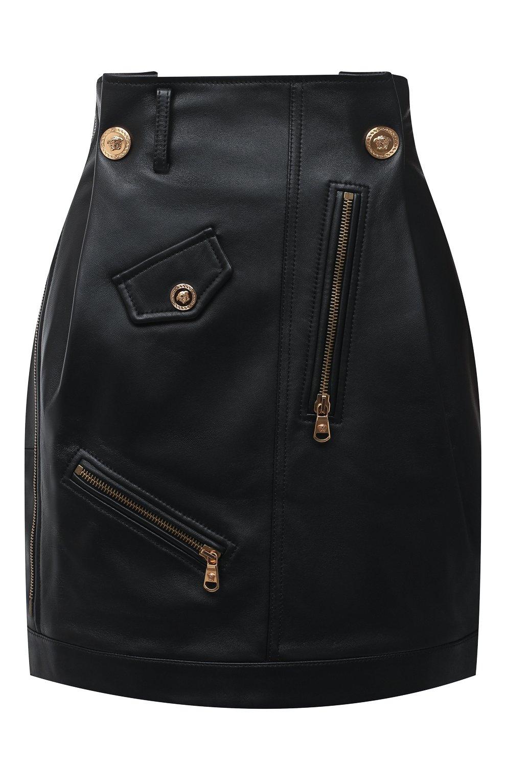 Женская кожаная юбка VERSACE черного цвета, арт. A87443/A210037 | Фото 1
