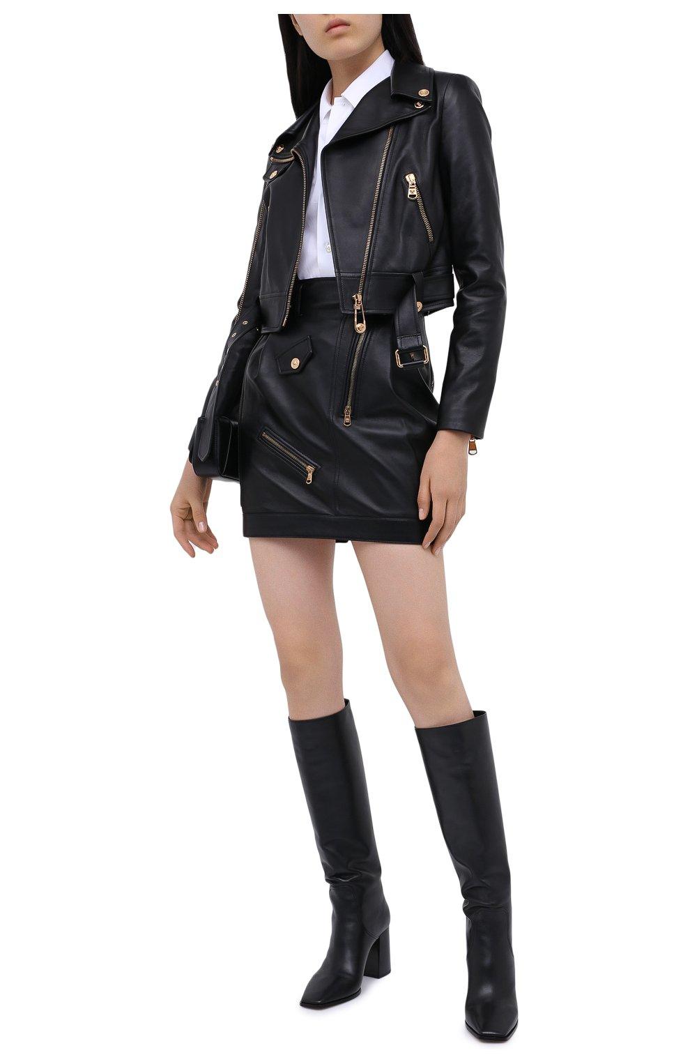 Женская кожаная юбка VERSACE черного цвета, арт. A87443/A210037 | Фото 2
