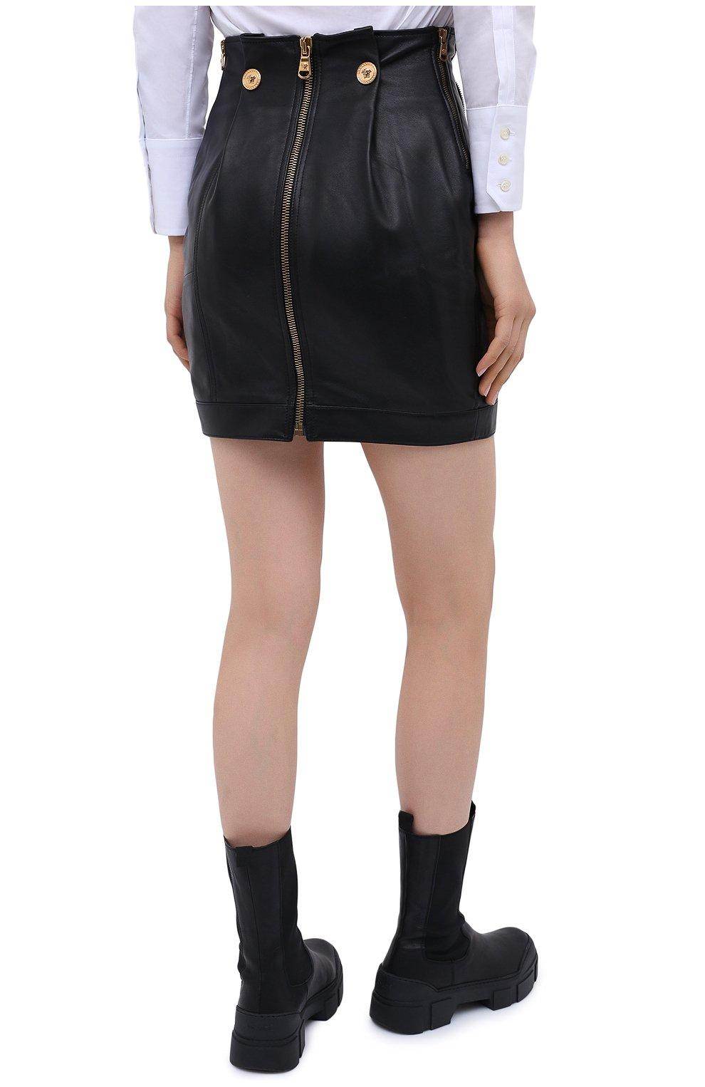 Женская кожаная юбка VERSACE черного цвета, арт. A87443/A210037 | Фото 5