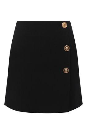 Женская юбка VERSACE черного цвета, арт. A87520/A212457   Фото 1 (Длина Ж (юбки, платья, шорты): Мини; Материал внешний: Синтетический материал; Женское Кросс-КТ: Юбка-одежда)