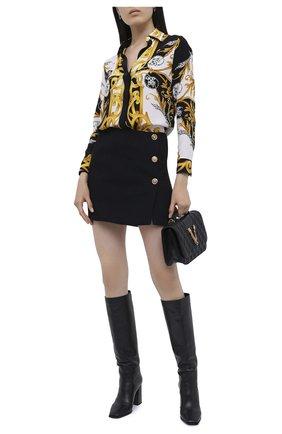 Женская юбка VERSACE черного цвета, арт. A87520/A212457   Фото 2 (Длина Ж (юбки, платья, шорты): Мини; Материал внешний: Синтетический материал; Женское Кросс-КТ: Юбка-одежда)