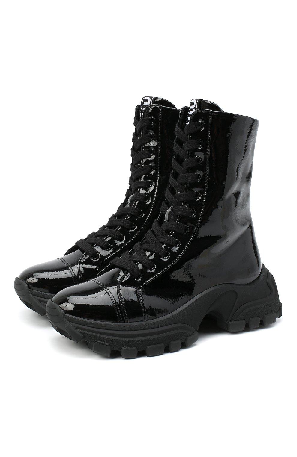 Женские кожаные ботинки MIU MIU черного цвета, арт. 5U185D/3LBK | Фото 1