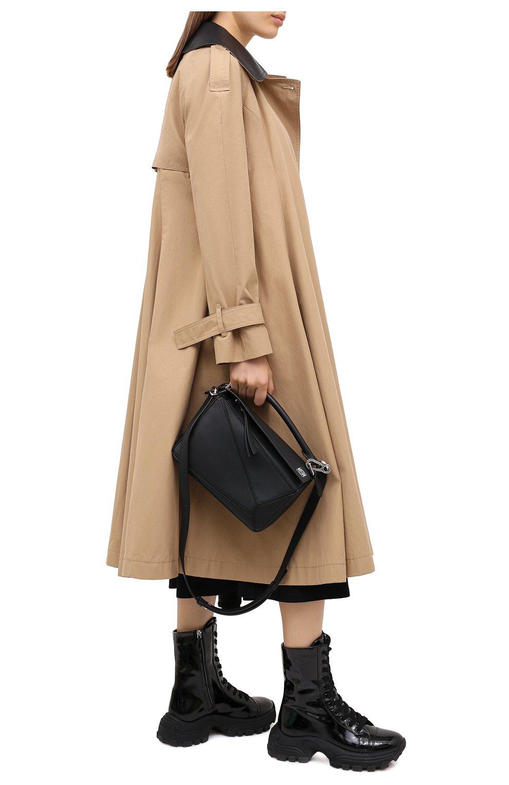 Женские кожаные ботинки MIU MIU черного цвета, арт. 5U185D/3LBK | Фото 2