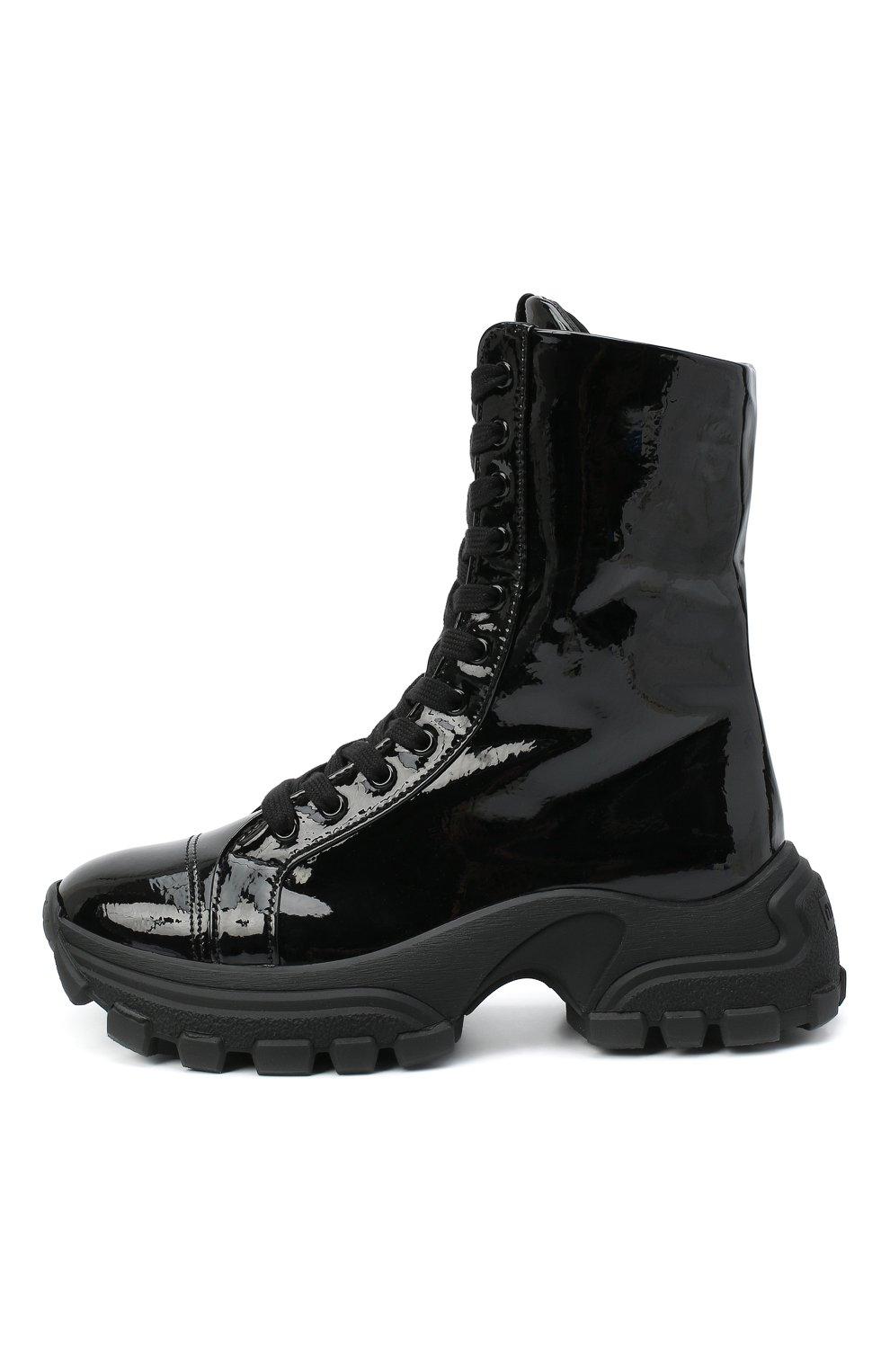 Женские кожаные ботинки MIU MIU черного цвета, арт. 5U185D/3LBK | Фото 3