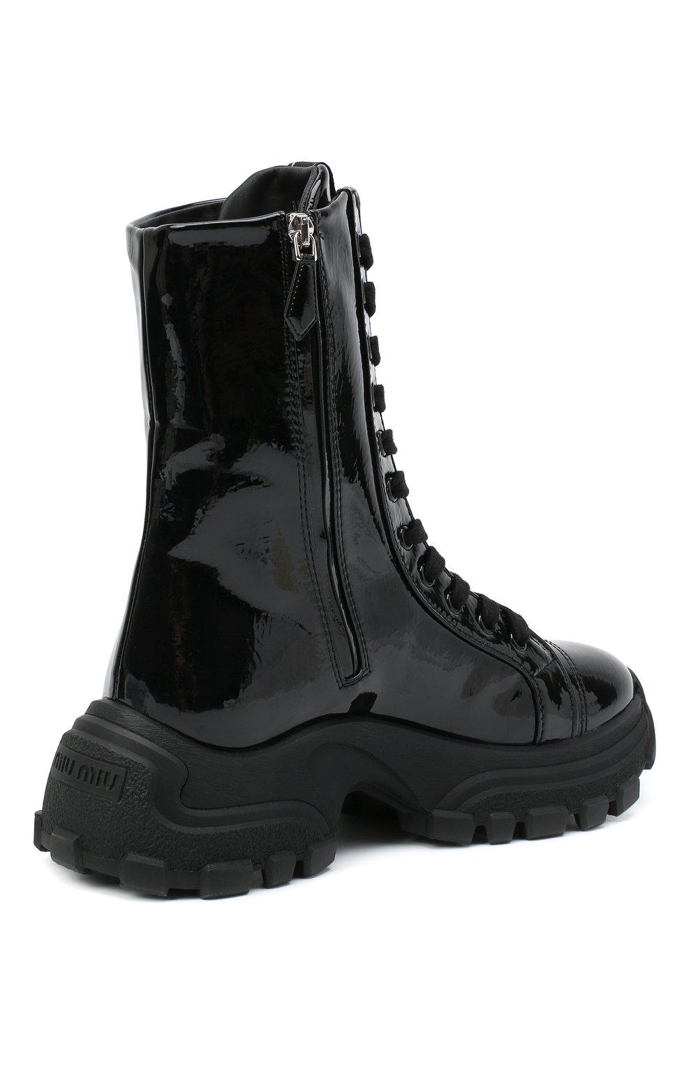 Женские кожаные ботинки MIU MIU черного цвета, арт. 5U185D/3LBK | Фото 4
