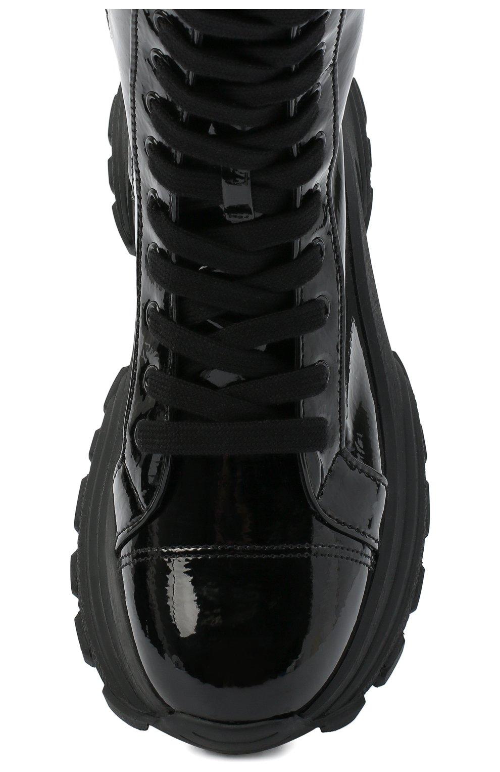 Женские кожаные ботинки MIU MIU черного цвета, арт. 5U185D/3LBK | Фото 5