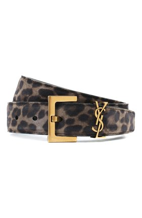 Женский кожаный ремень SAINT LAURENT леопардового цвета, арт. 634437/1Q10W | Фото 1 (Материал: Кожа)