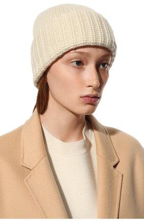 Женский кашемировая шапка SAINT LAURENT бежевого цвета, арт. 629100/3Y205 | Фото 2