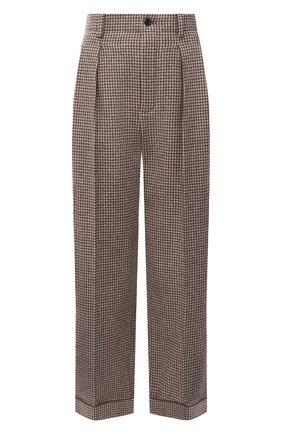 Женские шерстяные брюки SAINT LAURENT коричневого цвета, арт. 627259/Y3B47 | Фото 1