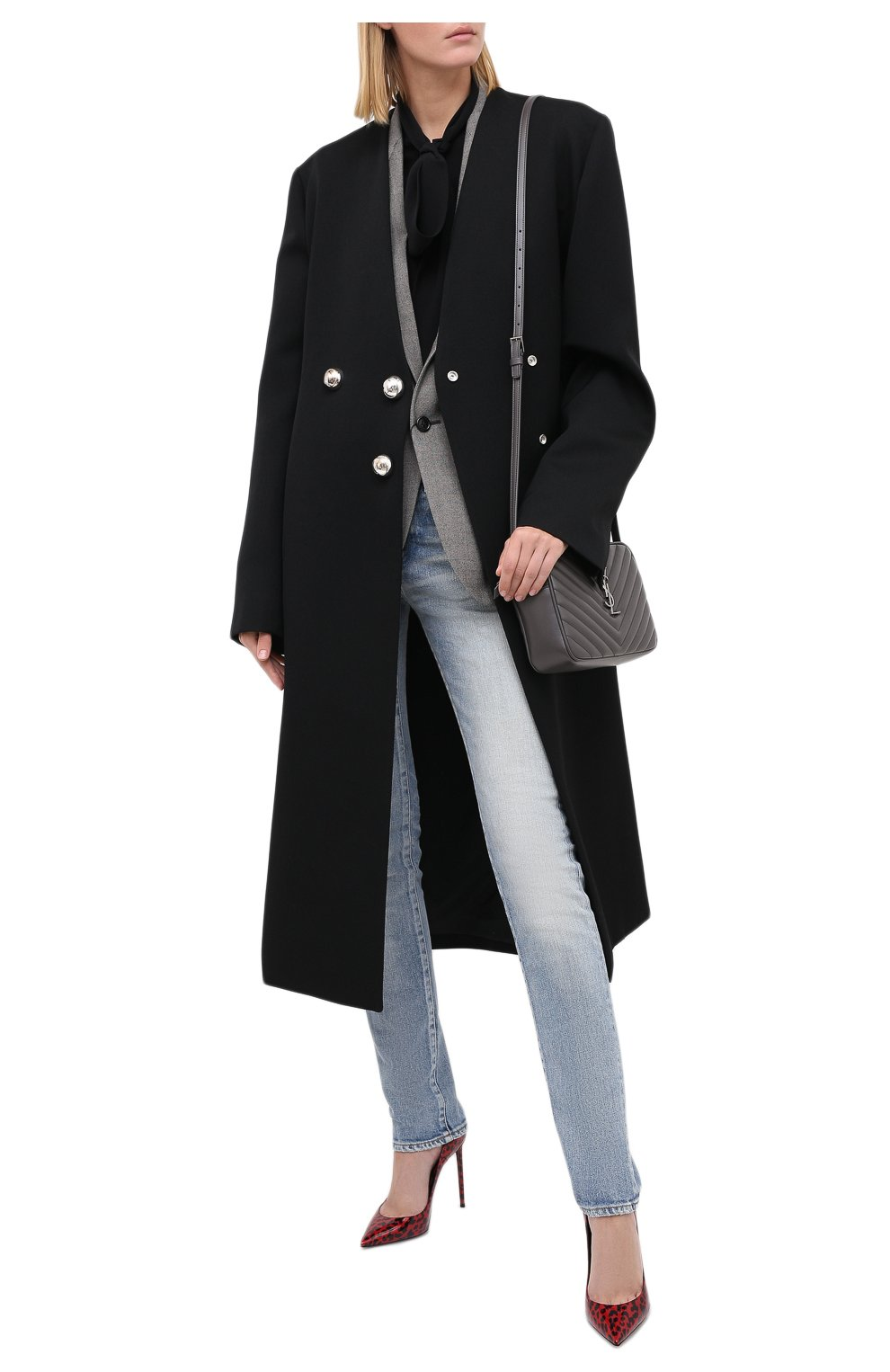 Женские джинсы SAINT LAURENT синего цвета, арт. 614447/Y507X   Фото 3