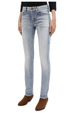 Женские джинсы SAINT LAURENT синего цвета, арт. 614447/Y507X   Фото 4