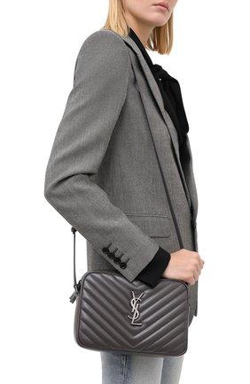 Женская сумка lou medium SAINT LAURENT серого цвета, арт. 612544/DV704 | Фото 2 (Ремень/цепочка: На ремешке; Материал: Натуральная кожа; Сумки-технические: Сумки через плечо; Размер: medium)