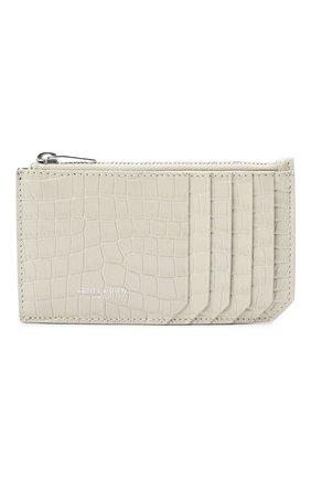 Женский кожаный футляр для кредитных карт SAINT LAURENT белого цвета, арт. 631992/DND0N | Фото 1