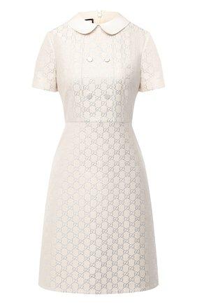 Женское платье из шерсти и шелка GUCCI кремвого цвета, арт. 628947/ZAE07 | Фото 1 (Длина Ж (юбки, платья, шорты): Мини; Рукава: Короткие; Материал внешний: Шерсть; Материал подклада: Синтетический материал; Женское Кросс-КТ: Платье-одежда; Случай: Формальный; Стили: Гламурный)