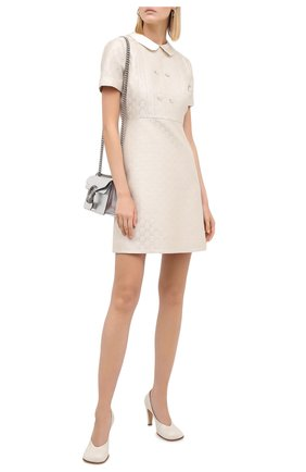Женское платье из шерсти и шелка GUCCI кремвого цвета, арт. 628947/ZAE07 | Фото 2 (Длина Ж (юбки, платья, шорты): Мини; Рукава: Короткие; Материал внешний: Шерсть; Материал подклада: Синтетический материал; Женское Кросс-КТ: Платье-одежда; Случай: Формальный; Стили: Гламурный)