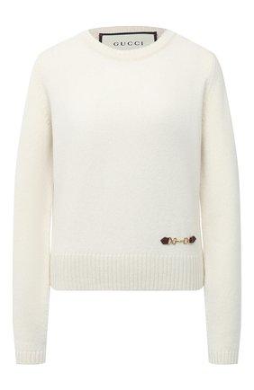 Женский кашемировый пуловер GUCCI белого цвета, арт. 628413/XKBH9 | Фото 1