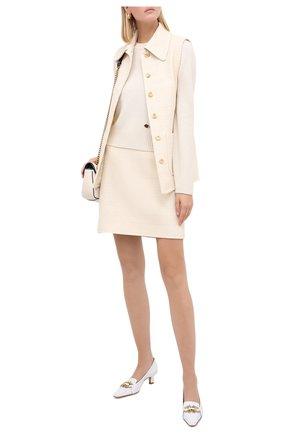 Женский кашемировый пуловер GUCCI белого цвета, арт. 628413/XKBH9 | Фото 2