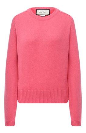 Женский кашемировый свитер GUCCI розового цвета, арт. 628413/XKBB2   Фото 1