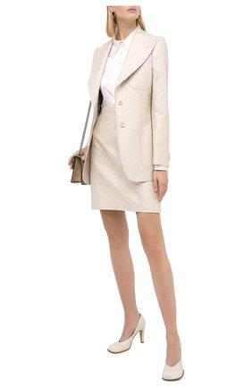 Женский жакет из шерсти и шелка GUCCI белого цвета, арт. 626559/ZAD7L | Фото 2