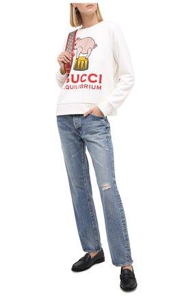 Женская хлопковый свитшот GUCCI белого цвета, арт. 623450/XJCRW | Фото 2