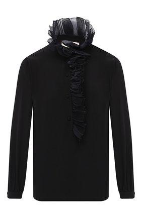 Женская шелковая блузка GUCCI черного цвета, арт. 619465/ZAEVM   Фото 1