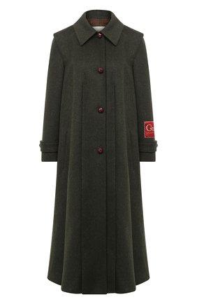 Женское шерстяное пальто GUCCI темно-зеленого цвета, арт. 619357/ZAEJU   Фото 1