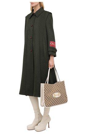 Женское шерстяное пальто GUCCI темно-зеленого цвета, арт. 619357/ZAEJU   Фото 2