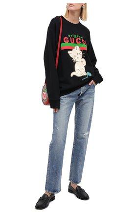 Женская хлопковый свитшот GUCCI черного цвета, арт. 617964/XJCRU | Фото 2